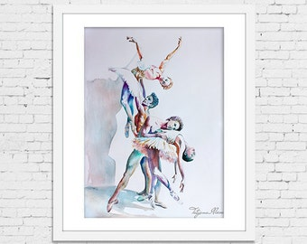 Watercolor Print - Playing the Angel. Composition of ballet dancers.
