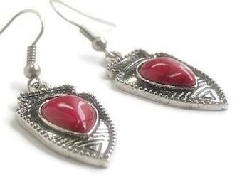Arrowhead Earrings - Fuchsia Arrowhead Earrings - Native -Tribal - Southwestern - Aztec Jewelry - Spear - Arrowhead Jewelry - Cowgirl