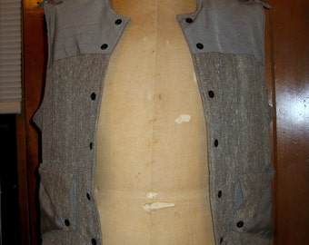 Vest with Leather Shoulder Detail