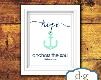 Inspirational Quote, Quote, Bbeach, Ocean, Anchor, Hope Anchors the Soul, Printable Artwork, 8x10, Instant Download