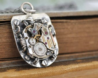 sterling silver STEAMPUNK NECKLACE, handmade sterling silver necklace with vintage watch movement one of a kind
