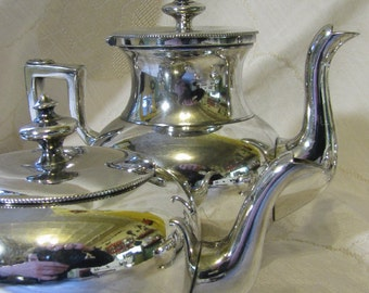 "Victorian ""Lady"" Breakfast Silver Tea Service / Simpson Hall Miller / Quadruple Plate / Coffee Teapot Creamer Sugar /"