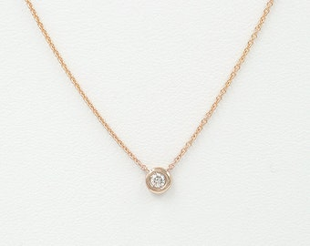 0.12ct.Diamond Necklace.Diamond Dainty Gold Necklace.Diamond Bezel Necklace.Minimalist Solitaire Necklace for women.Dainty 14k Solid Gold