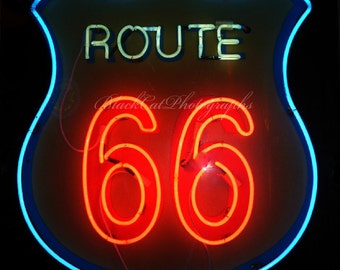 Neon Sign Photo Art Route 66 photo print Neon photography Red and Black Retro wall Decor Vintage style decor Retro wall art American culture