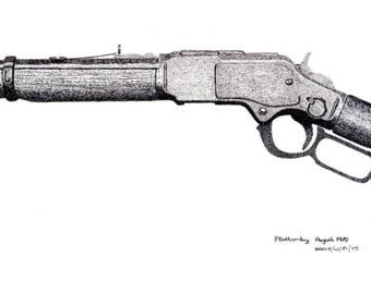 Art Print - Pen & Ink Drawing, A4 - Winchester Saddle-Ring Carbine
