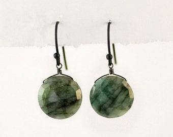 Raw Emerald Earrings - Oxidized Silver Earrings - Gemstone Earrings  - May Birthstone Earrings - Drop Earrings - Round Emerald Earrings