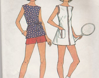 SImplicity 6398 Vintage Pattern Womens Tennis Dress or Tunic Top and Shorts Size 10 Bust 32.5