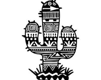 Aztec Cactus Decal