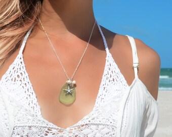 Starfish Seaglass Necklace Starfish Necklace Sea Glass Pendant Sea Glass Jewelry Beach Glass Necklace Beach Glass Jewelry Starfish Jewelry