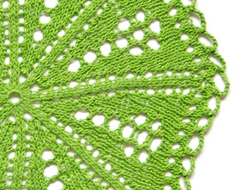 Bright  green hand dyed knitted Doily Vintage doily