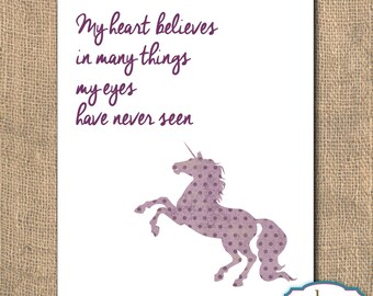 Inspirational Quote, Quote, Unicorn, My heart believes in many things, Unicorn Printable Artwork, 8x10, Instant Download