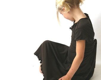 children's EMPIRE TIE DRESS clothing| girls| dress| long dress| best selling| brown dress| handmade| treehouse28| custom| comfortable dress