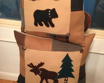 Wool Moose Bear Pillows Pair Lodge Cabin Decor Upcycled Wool Patchwork