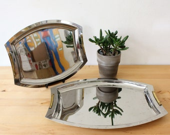 Vintage ODUSCE Mid Century Modern Stainless Steel 18/10 Serving Trays, Made in Argentina, Vintage Nesting Trays, Set of 2