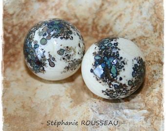Set of 2 spheres spun Lampwork Murano glass