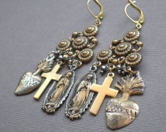 Milagro Gypsy Chandelier Earrings .. Sacred Heart.. GIFT.  Mother Daughter. Wedding Party. Sister . Birthday Gift