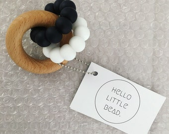 DUO Teether - Monochrome - Black and White Teether - Silicone and Beech Teething Ring - Baby Teether - Silicone Teether - Wooden Teether