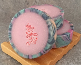 Rimmed Soap - Pink Berry Mimosa Scented - Decorative Artisan Coconut Milk Soap
