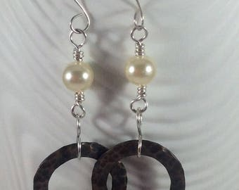 Mixed Metal Earrings, Sterling Silver and Copper Earrings, Copper and Pearls Earrings, Hardware Earrings, Mothers Day Gift