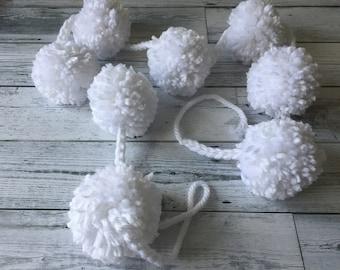 White Pom Pom Garland - Party Garland - Valentine Decor - Wedding Decor- Baby Shower - Neutral Garland