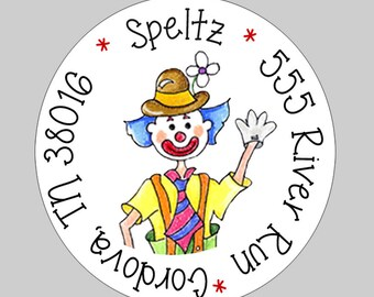 40 Personalized Circus Clown Address Labels