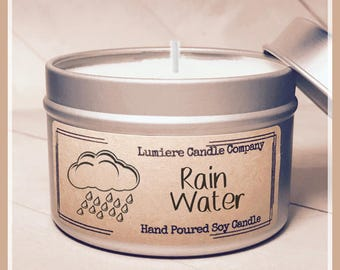 RAIN WATER Scented Soy Candle tin, Scented Soy Candles, Hand Poured Soy Candles, Soy Candles Handmade, Fresh Water Candle, Rain Candle