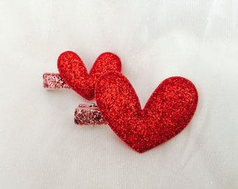 Valentines day hair clips glitter heart hair clips Valentine's Day barrettes baby hair clips girls hair clip sets Valentines day hair bows