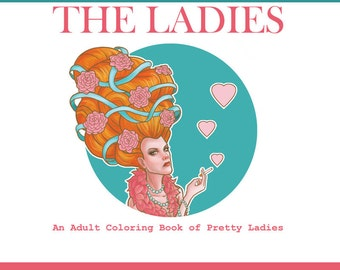 Adult Coloring book PDF Pretty ladies beautiful women, printable coloring pages of beautiful women for adults by SLS Lines, 14 pages