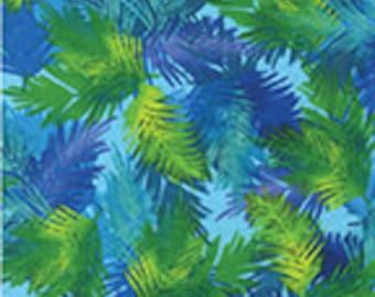 Palm Tree Island Aqua Leaves Benartex Fabric 1 yard