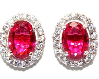 Sterling Silver Ruby And Diamond 3.57ct Oval Cut Stud Earrings (925)