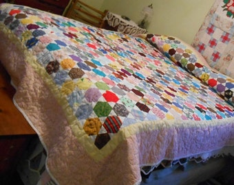 """Beautiful handmade """"I spy"""" quilt 98"""" x 73"""", handcrafted, custom made quilt, unique quilt, what do you see?, queen size, quilt for everyone"""