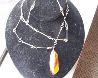 Vintage 1970's AMBER PENDANT on Handmade Link Necklace Chain by MFT Co.