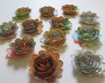 """s Travel Theme Party Decorations, set of 12 small road map roses 1.5"""" paper flowers 3D table scatter, recycled vintage USA state gas station"""