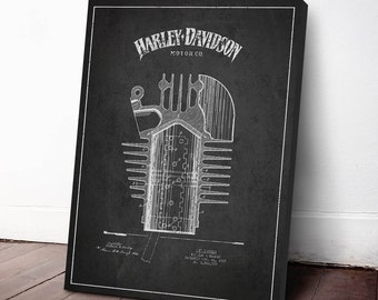 1925 Harley Davidson Cylinder Patent , Harley Davidson Canvas, Harley Davidson Wall Art, Harley Davidson Home Decor, Gift Idea, TRBM02C