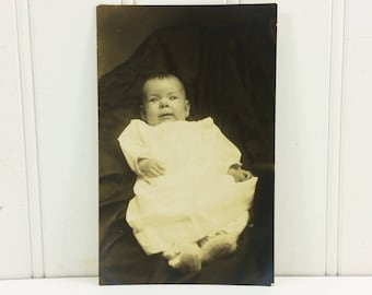 Victorian Baby Photo Portrait Antique Postcard Bright Eyed Boy with Booties