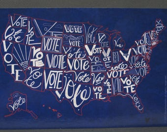 "Political Postcards: one ""Vote"" US map postcard, perfect for writing to your reps or get out the vote"