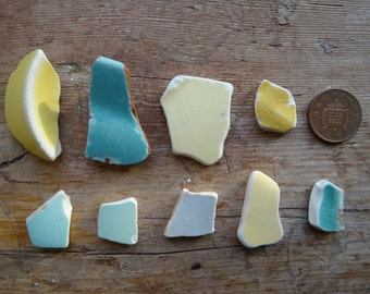 BLUE AND YELLOW Sea Pottery Pieces ~ Mosaic Pieces ~ Lucky Charms ~ Sea Treasure ~ Found Objects ~ Craft Supplies ~ Beach Combed