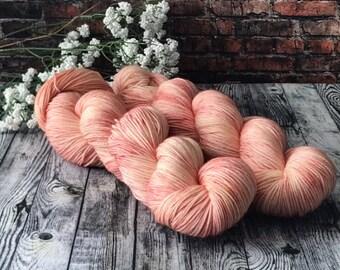 Indie Dyed Yarn, Hand Dyed Yarn, Wool Yarn - Rose Quartz on Shimmer Sock