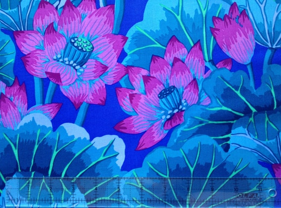 LAKE BLOSSOMS BLUE Kaffe Fassett Collectives quilting fabric sold in 1/2 yd increments