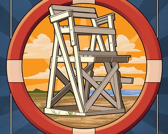 Bethany Beach, Delaware - Lifeguard Chair (Art Prints available in multiple sizes)