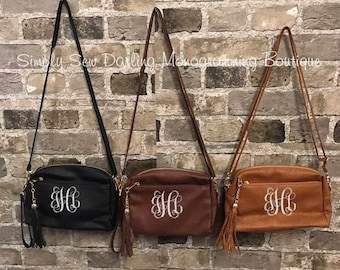 SALE Embroidered Monogrammed Leather Tassel Crossbody Clutch Purse