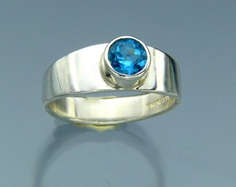 Swiss Blue Topaz Ring - Sterling Silver Band Ring - November Birthstone Jewelry - Made in the USA by Me - FREE Shipping