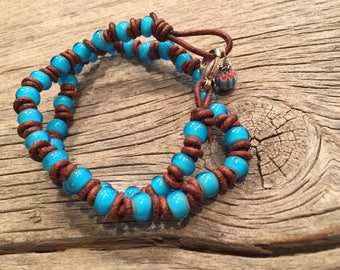 American Indian Trade Bead Wrap Around Bracelet