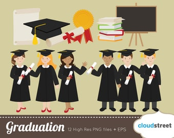 BUY 2 GET 1 FREE Graduation clipart for personal and commercial use - graduation clip art - graduation vector illustration