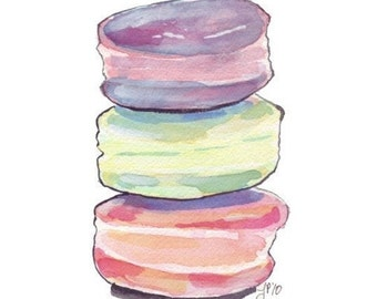 Macarons Print - Macarons no. 1 Watercolor Painting, Three Stack of Cookies - Watercolor Art Print, 8x10
