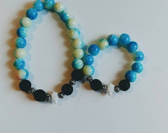 Mommy & Me diffusing bracelets/aromatherapy bracelets/lava bead bracelets/glass beads bracelets