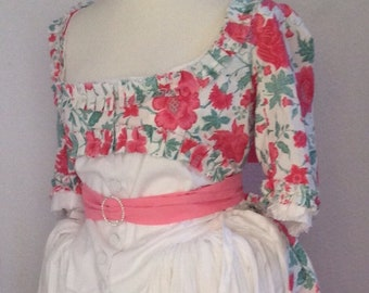 """Georgian 18th century petticoat & zone front gown, pure quality cotton, bust 44"""", alterations available ."""