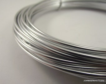 Silver Anodized Aluminum Wire, 12 gauge, 45 foot coil, 2 mm round wire