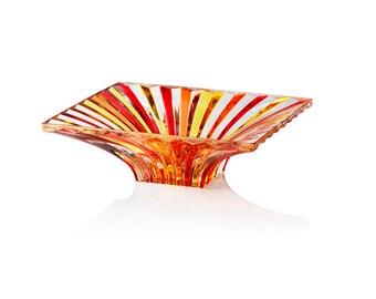 Metaphora crystal centerpiece hand painted glass Murano Style Venetian