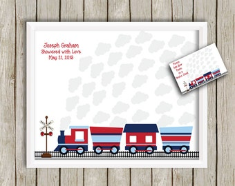 ChooChoo Train Keepsake Alternative Guestbook, Baby Shower Signature Print for 35 Guest, Baby Shower Sign-in Print, Baby Shower Gift